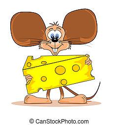 Cartoon Maus mit Käse