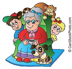 Cartoon-Oma mit zwei Kindern
