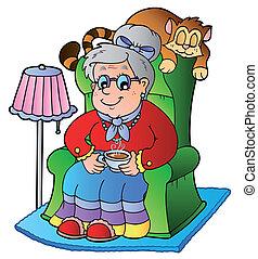 Cartoon-Oma sitzt im Sessel