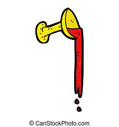 Cartoon-Pokal voller Blut