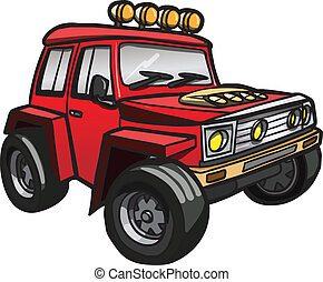 Cartoon Red Jeep. Isoliert