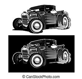 Cartoon Retro Hot Rod isoliert schwarz-weiß