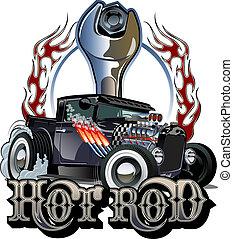 Cartoon Retro-Hot Rod mit Vintage Briefing-Poster