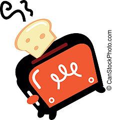 Cartoon-Retro-Toaster isoliert auf weiß