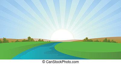 Cartoon River Landschaft.