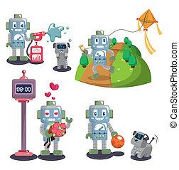 Cartoon-Roboter-Set