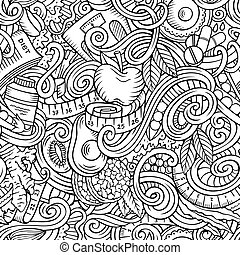 Cartoon süße Doodles hand gezeichnet Diet food nahtlose Muster