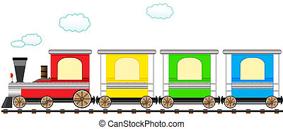 Cartoon süßer, farbenfroher Zug in Bahn.