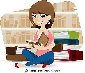 Cartoon süßes Mädchen Lesebuch in der Bibliothek.