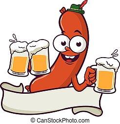 Cartoon Sausage serviert Bier und leere Banner. Vector Illustration