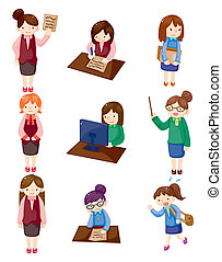 Cartoon-schöne Büro-Frau Arbeiter-Ikone-Set