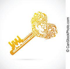 Cartoon-Schlüssel mit Herz