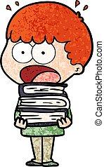 Cartoon schockierte den Jungen mit einem Haufen Bücher.
