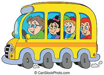 Cartoon-Schulebus mit Kindern