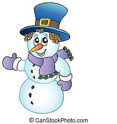 Cartoon Snowman mit einem großen Hut