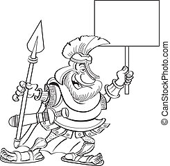 Cartoon spartanisch mit einem Zeichen