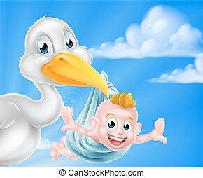 Cartoon Storch hält Baby
