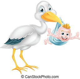 Cartoon Storch hält ein neues geborenes Baby