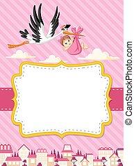 Cartoon Storch liefert ein neugeborenes Mädchen.