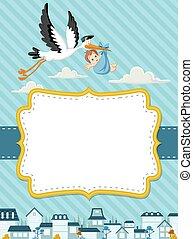Cartoon Storch liefert einen Neugeborenen.