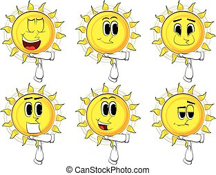 Cartoon Sun mit Zeitausgang Handgeste.