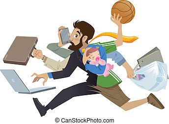 Cartoon super beschäftigt Mann und Vater multitask tun viele Arbeiten.