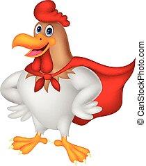 Cartoon Super-Rooster posiert.