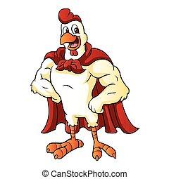 Cartoon Super-Rooster posiert