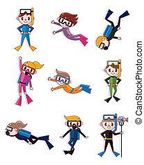 Cartoon-Taucher-Ikonen