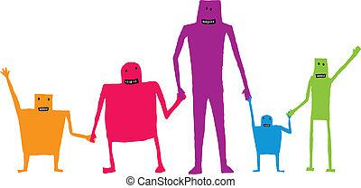 Cartoon-Teamwork hält Händchen / glückliche Zusammenarbeit