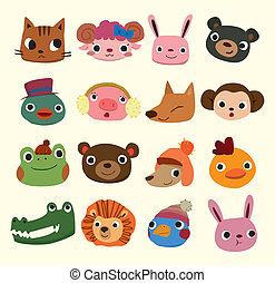Cartoon-Tierkopf-Ikonen