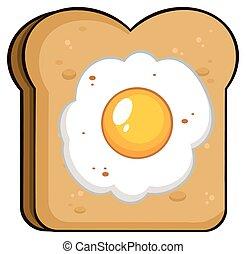 Cartoon Toast Brotscheibe mit Ei
