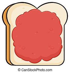 Cartoon Toast Brotscheibe mit Marmelade