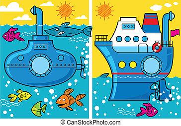 Cartoon U-Boot und Schiff