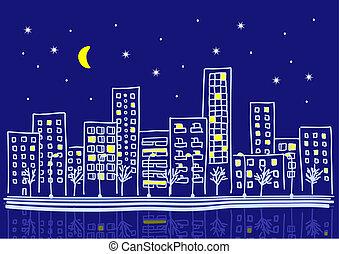 Cartoon urbane Nacht