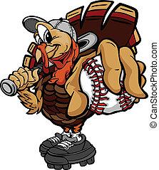 Cartoon-Vektor-Baseball oder Softball-Truthahn, der einen Baseballball und einen Schläger hält