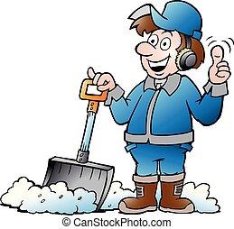Cartoon Vektor Illustration eines glücklichen Handwerkers mit seiner Schneeschaufel.