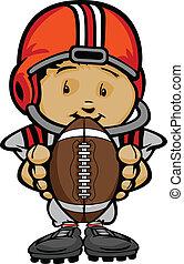Cartoon Vektor illustriert einen süßen Footballspieler mit Händen, die Ball halten