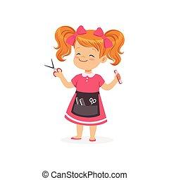 Cartoon Vorschulmädchen mit Schürze und Barbierwerkzeugen in den Händen. Haarstylist Rolle spielen. Berufstagskonzept. Flatter Kindercharakter