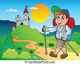 Cartoon Wanderjunge bei Castle