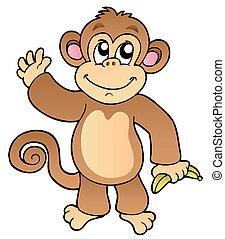 Cartoon winkt Affe mit Banane