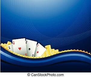 Casino Glücksspiel blaue Hintergrundelemente.
