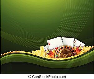 Casino Glücksspiel grüne Hintergrundelemente.