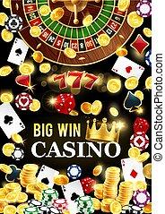 Casino Poker Roulette großen Gewinn Jackpot, Gold Münzen