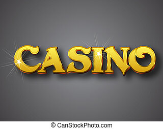 Casino schreibt in Gold 3D Schriftart