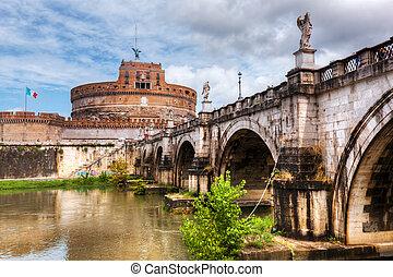 Castel sant'#39;angelo, rome, italy. Tiber River und die Sant'#39;Angelo Brücke