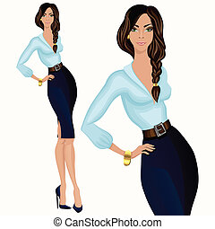 Casual Style attraktive Geschäftsfrau.