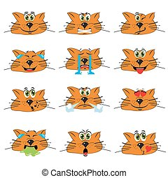 Cat Emojis Set von Emoticons Icons isoliert