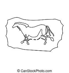 Cave Malen Icon im bildlichen Stil isoliert auf weißem Hintergrund. Steinzeit-Symbol-Aktivierung.