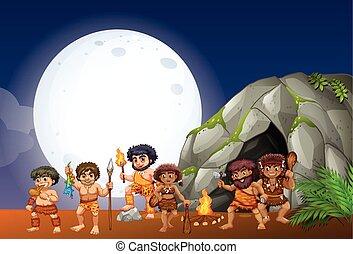 Caveman lebt in der Höhle.
